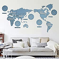 Fashionable Creative Wall Clock European 3D Wooden World Map Large Living Room Office Bedroom Decorative Wall Sticker Clock (Length 220Cm Height 105Cm),#7,B