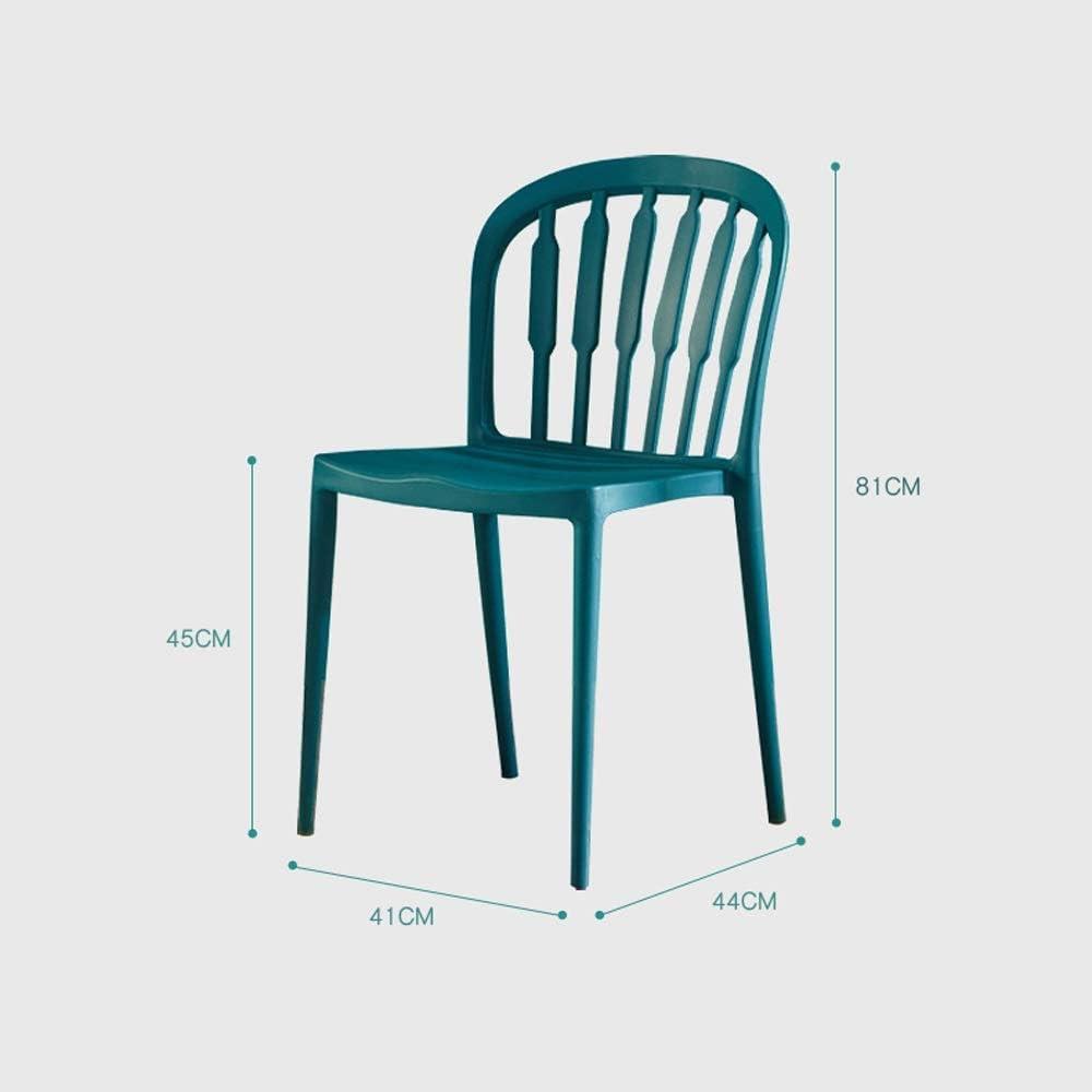 Dossier en plastique de ménage dinant la chaise, siège extérieur de dossier de chaise de café-restaurant, style de mode minimaliste nordique (Couleur : White) Blue