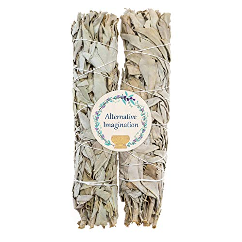 2 Premium California White Sage, Each Stick Approximately 8 Inches Long and 1.25 Inches Wide for Smudging Rituals, Energy Clearing, Protection, Incense, Meditation, Made in USA