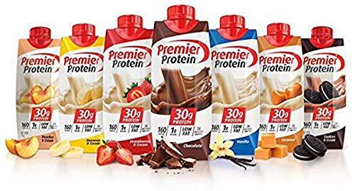 Premier Protein High Protein Shakes Variety Pack Chocolate Vanilla Strawberry amp Cream Bananas amp Cream Caramel Peaches amp Cream Cookies amp Cream  11 fl oz 7 pack