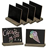 MyGift Mini Tabletop Chalkboard Signs with Rustic Wood Stands, 5 x 6-inch, Set of 6