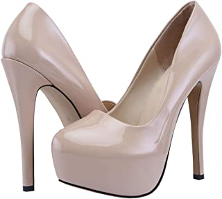 TIPTOE DANCE Heels for Women, Classic Platform High Heels Fashion Round Toe Dress Pump Shoes