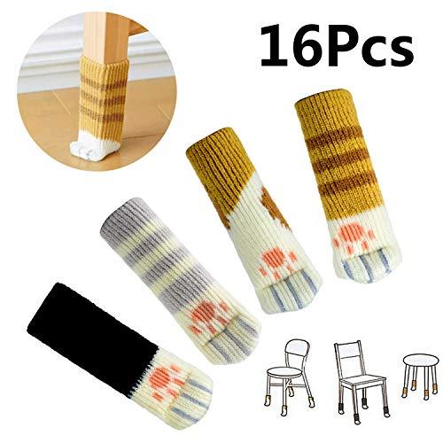 Comius Sharp Stuhl-Socken, 16(4 Sets) Stück Socken,Fancy Tischbein mit Cute Cat Paws Design, Kreative Fancy Tisch Bein Pads,zuverlässige Möbel Boden Displayschutzfolie