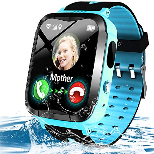 Kids Waterproof Smart Phone Watch GPS Tracker for 3-12 Year Girls Boys Two-Way Call SOS Camera Games Swim Camp Activity Tracker Electronic Learning Toy Holiday Xmas Birthday Gifts (Blue)