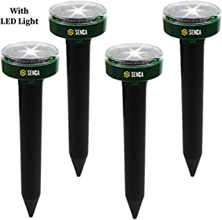 Senca LED Solar Powered Sonic Mole Repellent, 4 Pack, Ultrasonic Pest Repeller, Repel Mole, Gopher, Snake, Vole, Mouse, Chaser for Outdoor Lawn Garden Yards, Humane Pest Control Rodent Repellent