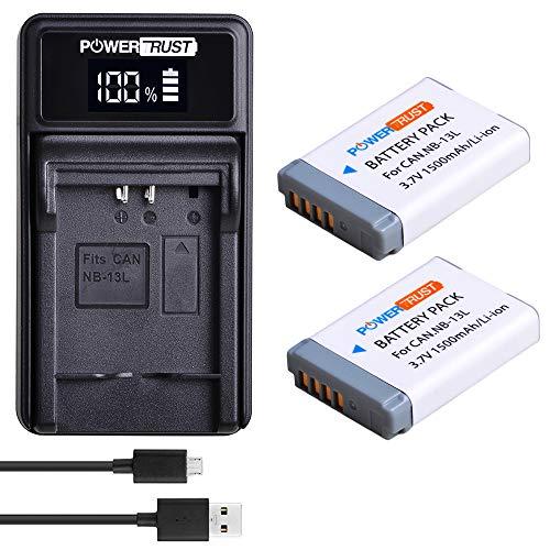 PowerTrust - 2 baterías de ion de litio NB-13L y cargador USB LED para cámara digital Canon PowerShot G5X G7X G9X G7 X Mark II G9X Mark II SX620 HS SX720 HS SX730 HS