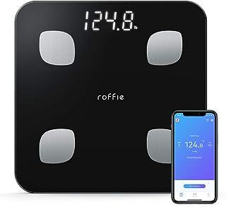 Escala de Grasa Corporal, Roffie Báscula Digital Inteligente de Peso Corporal Analizador Composición de Alta Precisión Baño Fitness Monitor de Salud Sincronización con Aplicación Smartphone Negro