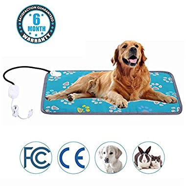 Mazort Pet Heating Pad Cats and Dogs Safety Electric Heated Pet Bed Warming Mat with 2 Adjustable Temperature Chew Resistant Cord 19.6  x 27.5