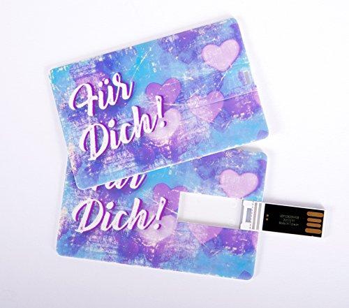 Witziger USB Stick im Visitenkartenformat, Scheckkarte, Kreditkarte, 4 GB, Herzen Für Dich, ideal als Datenspeicher oder Geschenk