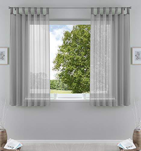 2er-Pack Gardinen Transparent Vorhang Set Wohnzimmer Voile Schlaufenschal mit Bleibandabschluß HxB 175x140 cm Grau, 61000CN