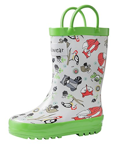 OAKI Kids Rubber Rain Boots with Easy-On Handles, Timber Critters, 11 Little Kid