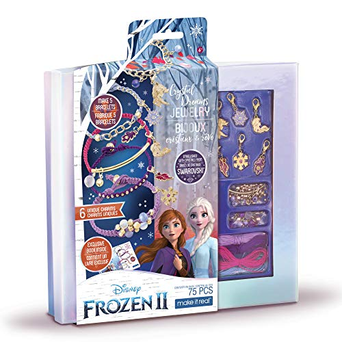 Make It Real - Disney Frozen 2 Crystal Dreams Jewelry - DIY Bead & Charm Bracelet Making Kit - Includes Jewelry Making Supplies, Charms with Swarovski Crystals & Exclusive Frozen 2 Book