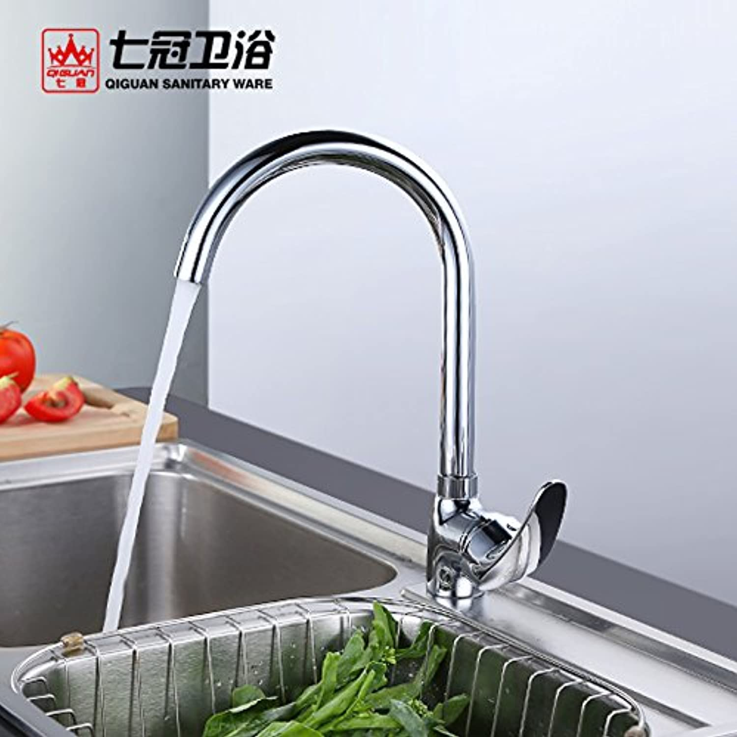 Commercial Single Lever Pull Down Kitchen Sink Faucet Brass Constructed Polished Seven Crown Bathroom Copper Kitchen Hot and Cold Faucet Sink Faucet Sink 360 Degree redation