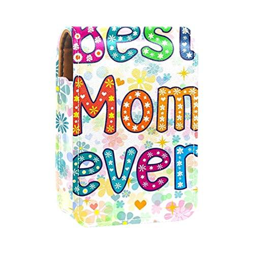Estuche de lápiz Labial para Bolsa de Maquillaje para Exterior Mini Bolsa de Viaje Estuche cosmético Día de la Madre Mejor mamá Siempre Flor para Mujeres Regalos