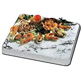 3C crystalcoldceramic - Kalte Platte für Sideboard oder Tisch - 53 x 32,5 cm - Chrom und Marmor