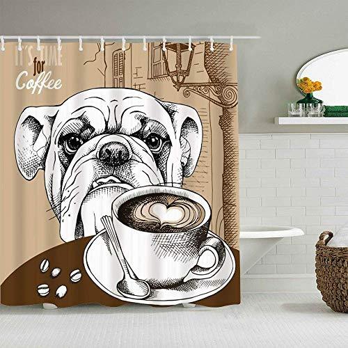 Duschvorhang Brown Bulldog Cup Tasse Kaffee H& Tiere Old Cappuccino Wildlife Food Drink Restaurant Hot Bean Frühstück Personalisiertes Dekor Badezimmer Vorhang 180x210