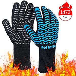 ReHaffe Grill Gloves,1472? Extreme Heat Resistant Gloves, Food Grade XL Grilling Gloves, Silicone Anti-Slip BBQ Grill Gloves for Grilling, Barbecue,Cooking, Baking, Cutting