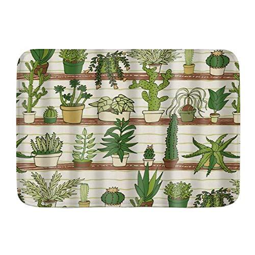 LnimioAOX Badematte Teppich, grüne Cartoon Pflanze, mexikanische Texas Kaktus Pflanzen ikes Cartoon wie Kunst, Plüsch Badezimmer Dekor Matten mit rutschfesten Rücken