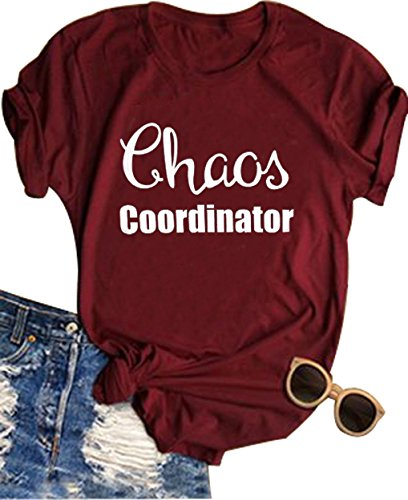 Women Chaos Coordinator Letter Printed T-Shirt Funny Short Sleeve Tops Tee(X-Large,Wine Red)