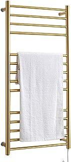 XSGDMN Heated Towel Rack, Wall Mounted Towel Warmers 304 Stainless Steel Heated Towel Rail Radiator for Home Bathroom Luxurious Hotel, Gold,Plugin
