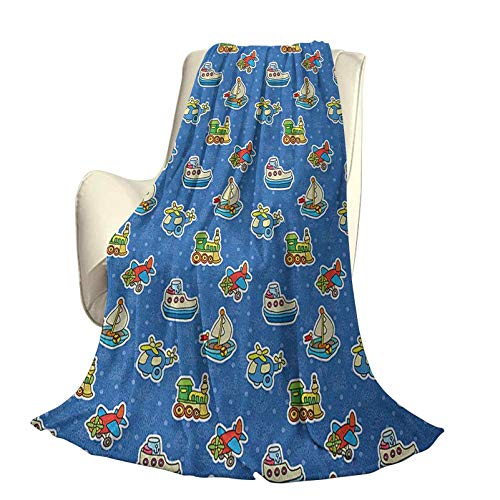 Kids Modern and Stylish All-Season Bedspread futon Cute Toys Pattern Train Sail Boat Airplane Children Baby Playroom Art Design High-end Lightweight Anti-Static Blanket W70 x L84 Inch Violet Blue YEL
