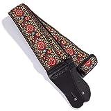 KLIQ - Correa para guitarra acústica y eléctrica, estilo vintage de los años 60, con diseño de tejido jacquard, incluye 2 cierres de correa de goma
