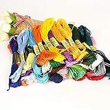 Enfilez JFCUICAN - 50 colores de punto de cruz de algodón para bordar, hilo para coser, madejas de bricolaje