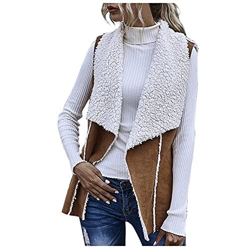 yiouyisheng Chaleco de mujer elegante chaleco de ante acolchado, cárdigan sin mangas, para otoño, simple solapa, se puede llevar por ambos lados., marrón, XL
