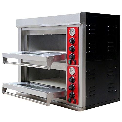 Pizzaofen Edelstahl 2 Kammern 400 V für die Gastronomie Ober- Unterhitze