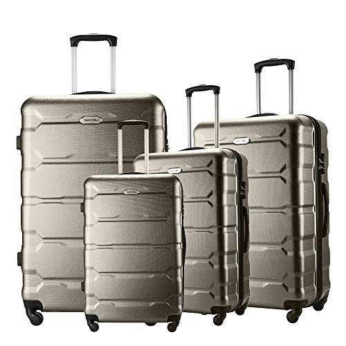 Seanshow Luggage Sets 4 PCS Spinner Lightweight Suitacase Set with TSA Lock 18' 22' 26' 30' Brown