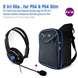 PS4 VR Carrying Bag + One Ear Headset with Mic, Wired PS4 Gaming Chat Headphones - Volumn Control 3.5mm Mono Headphones, Online Live Game Earphone Headband with Mic Stereo for Sony Playstation 4 PS4