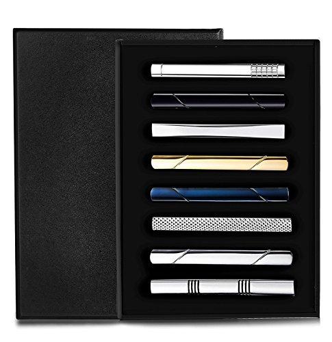 sailimue 8Pcs Herren Krawattenklammer Krawattennadel für Männer Geschäft Hochzeit Business Krawatte Tie Clips Mit Box