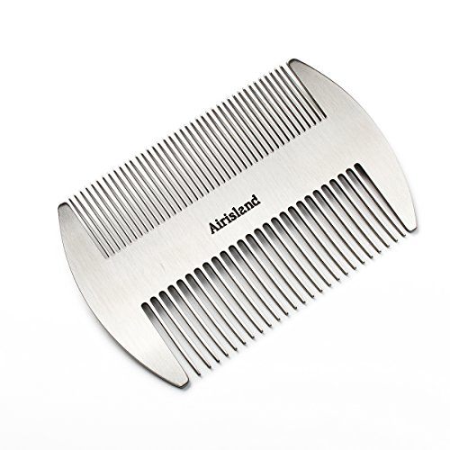 Airisland Dual Action Stainless Steel EDC Credit Card Size Comb Wallet Comb Pocket Comb Anti-Static Hair Comb Beard Mustache Comb for Man