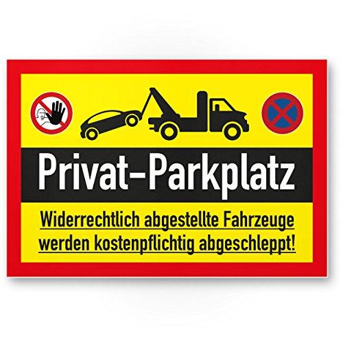 Parking privé Carte – parkverbot (Jaune, 30 x 20 CM), plaque signalétique, Interdiction enseigne, Parking – Avertissement voitures et véhicules, Env. – Parking privé freihalten