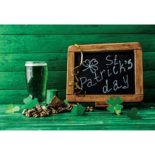 Yeele 3x2,5m Día de San Patricio Fotografía Fondo Trébol La Cerveza Verde Fondo Pizarra Piso de Madera Pared Foto Festival de Abril Celebracion Fiesta Póster Personal Retrato Accesorios