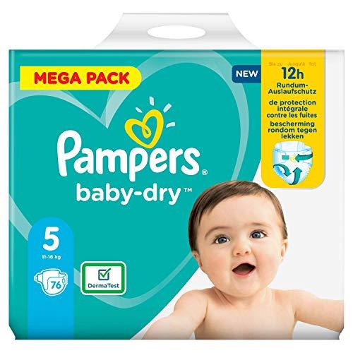 Pampers Baby Dry Größe 5 Windeln 76, bis zu 12 Stunden Schutz, 11-16kg (2 pack)
