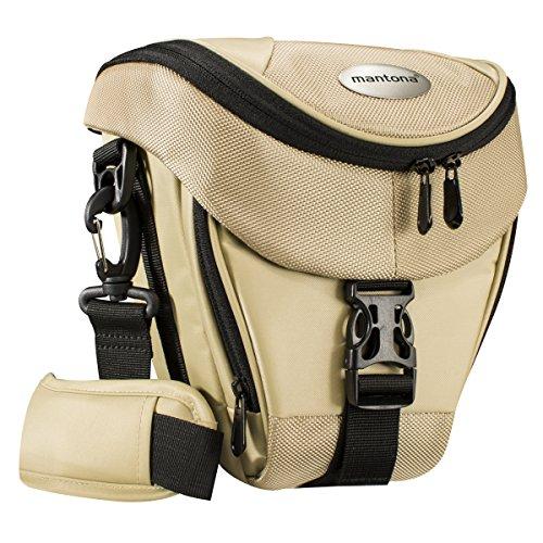 Mantona Colt DSLR Kamera Tasche für Spiegelreflex, SLR, Kompaktkamera, Systemkamera, Schultertasche Umhängetasche mit Platz für Zubehör, wasserdicht, Sand