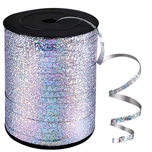 500 Yards Silver Shiny Balloon Ribbons for Parties, Florist,Crafts and Gift Wrapping.