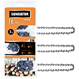 SUNGATOR 3-Pack 16 Inch Chainsaw Chain SG-S56, 3/8' LP Pitch - .050' Gauge - 56 Drive Links, Compatible with Echo, Homelite, Poulan, Remington, Greenworks