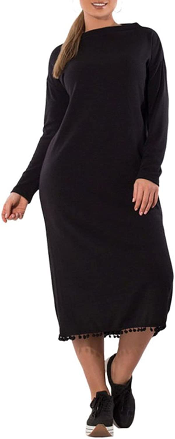 Lady's Dress Women's Dresses Fashion Pure color Round Neck Loose Long Dress Cocktail Party Daily Wearing Spring Summer Clothing Temperament ( color   Black , Size   5XL )