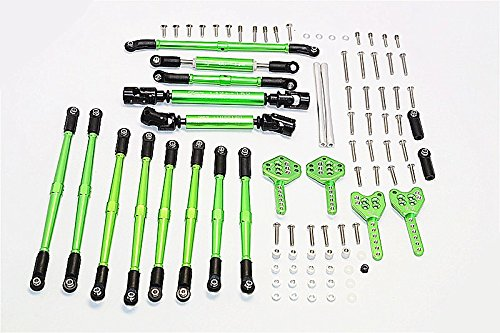 Axial SCX10 II Upgrade Pièces (AX90046) Aluminium Chassis Lift Up Combo (Tie Rods & Center Shaft & Damper Mount) - 1 Set Green