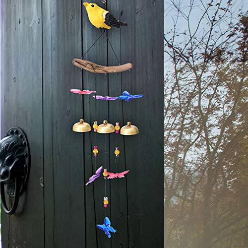 YLYYCC Wind Chimes-Colored Bird Wind Chime- Comes with 3 Pure Copper Bells+8 Butterflies-Suitable for Patio, Bedroom, Living Room, Balcony Decoration-Children's Gift
