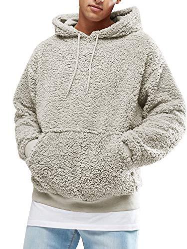 Gemijacka Pullover Herren Hoodie Herren Kapuzenpullover Plüsch Hoodie Sweatshirt Teddy-Fleece Pullover mit Taschen, Grau, M