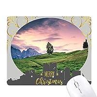 ライトピンクの木草の空 クリスマスイブのゴムマウスパッド