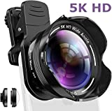 Phone Camera Lens Kit 2 in 1 Pro Camera Lens Kit,15X Macro 5K HD 0.56X Wide Angle for iPhone X XR XS Max 8 7 6S Plus Samsung with Bag and Travel Case