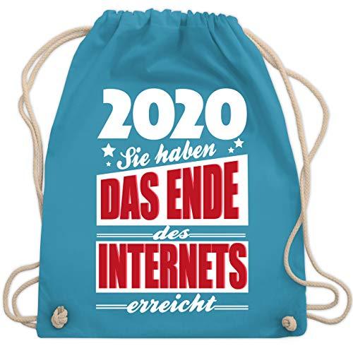 Shirtracer Statement - 2020 Sie haben das Ende des Internets erreicht - Unisize - Hellblau - Spruch - WM110 - Turnbeutel und Stoffbeutel aus Baumwolle
