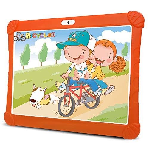 Tablet para Niños con WiFi 4G, 3GB RAM 32GB ROM /128GB Escalables Tableta PC, Quad-Core Dual SIM 8+5MP 8500mAh Google OTG Netflix Tablet Android 9.0 (Naranja)