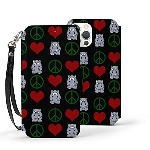 Peace Love Hippos Case for iPhone 12 for Women Men Leather Wallet Case with Card Holder Wrist Strap