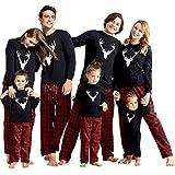IFFEI Matching Family Pajamas Sets Christmas PJ's with Deer Long Sleeve Tee and Plaid Pants Loungewear Men M Black
