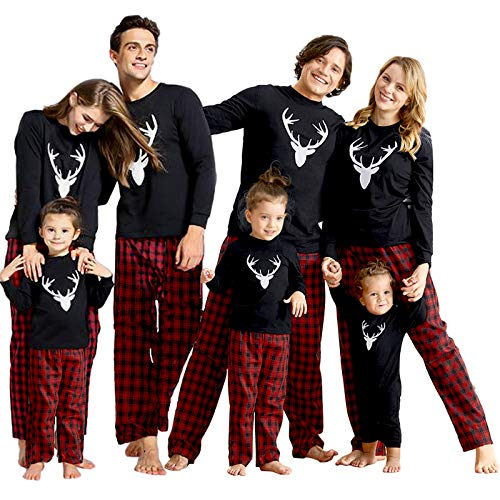 IFFEI Matching Family Pajamas Sets Christmas PJ's with Deer Long Sleeve Tee and Plaid Pants Loungewear One-Piece: 9-12 Months